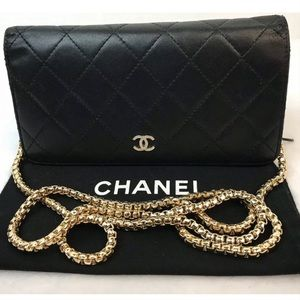 CERTIFIED AUTH.CHANEL QUILTED LAMBSKIN LONG WALLET